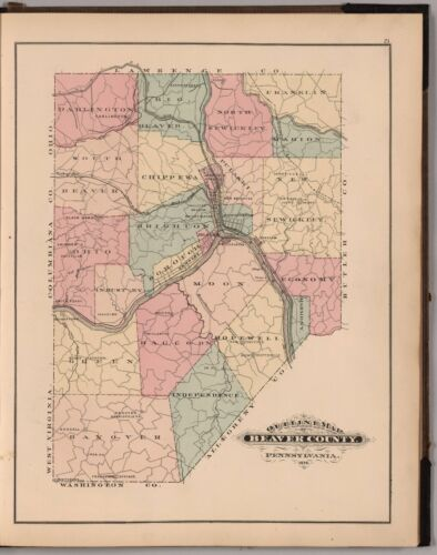1876 Atlas BEAVER COUNTY PENNSYLVANIA plat maps old GENEALOGY LAND OWNERS DVD P4