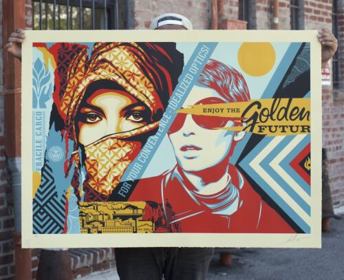 Shepard Fairey GOLDEN FUTURE LARGE FORMAT Signed Print OBEY Giant #/75 + COA