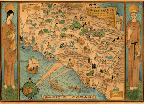 1922 Pictorial Historical Map Orange County California Wall Art Poster Vintage