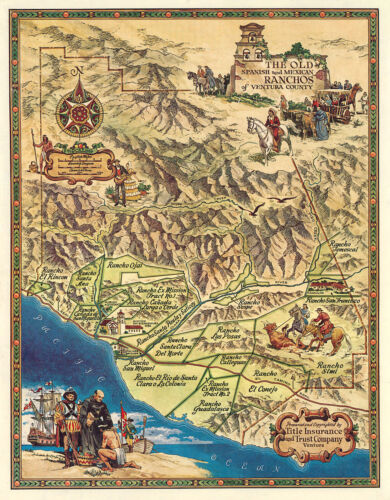 Map of The old Spanish and Mexican Ranchos of Ventura County Wall Poster Print