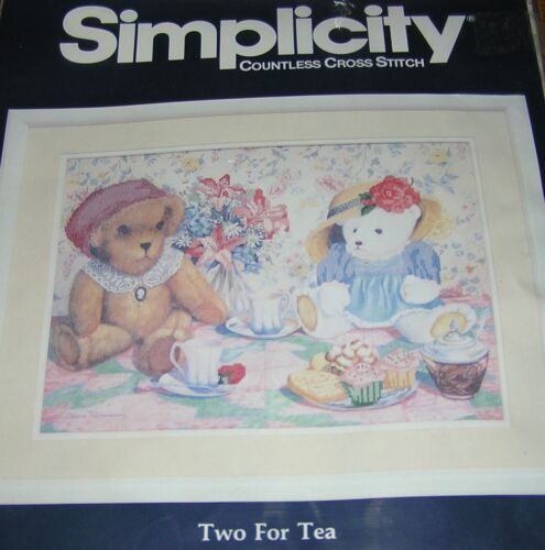Bears Two For Tea No Count Cross Stitch Kit Simplicity Made USA Embroidery Cake