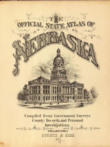 1885 NEBRASKA STATE ATLAS maps old GENEALOGY DVD S19