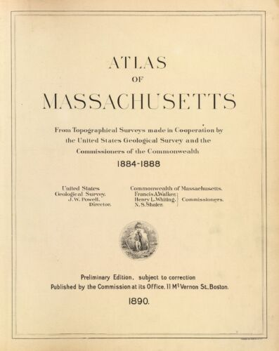 1890 MASSACHUSETTS STATE ATLAS maps old GENEALOGY DVD S21