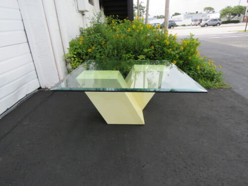 Mid Century Modern Marbleized Wood and Glass Top Coffee Table 8478