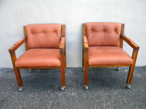 Vintage Mid Century Modern Pair of Oak Side by Side Chairs 5456