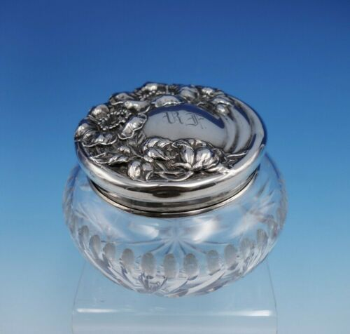 """Wild Rose by Watson Sterling Silver and Glass Dresser Jar 3"""" Tall (#3265)"""