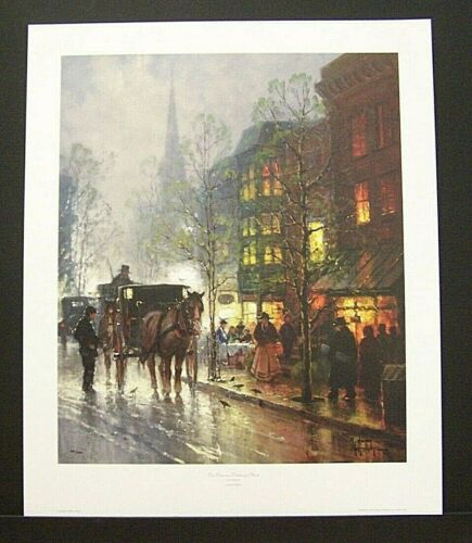 """G. Harvey Hand Signed Limited Edition Print """"Teatime on Newberry Street"""""""