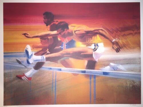 1983 Olympic Visions of Gold Hurdlers Robert Peak Lithograph Signed Numbered