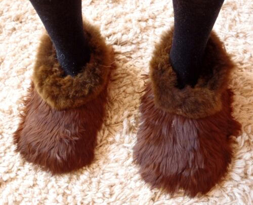 PERUVIAN ALPACA FUR SLIPPERS * CHOCOLATE BROWN * 5/38 *