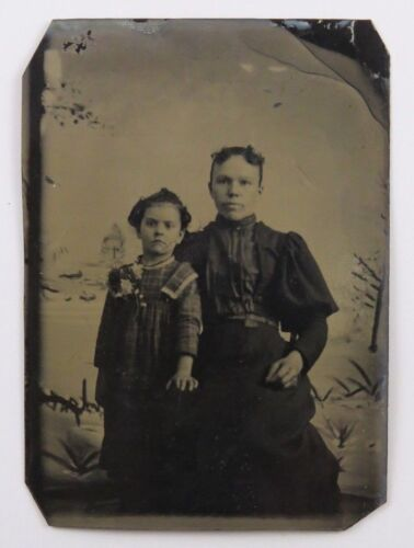 Tintype Photograph Portrait of Mother and Daughter or Woman and Young Child