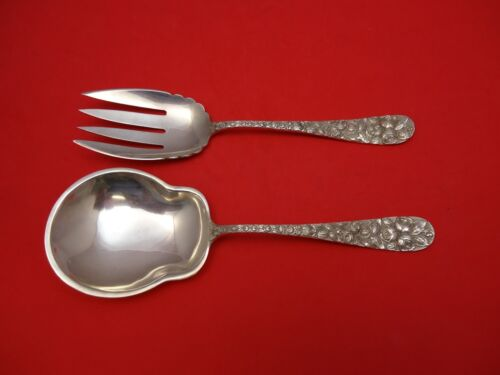 "Baltimore Rose by Schofield Sterling Silver Salad Serving Set 9 1/4"" 2pc Fhas"