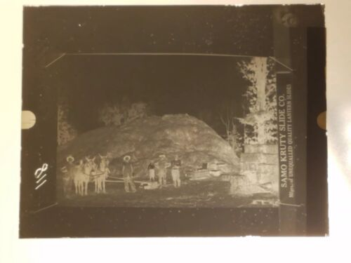 Vtg GLASS NEGATIVE SLIDE Picture of Men (maybe Railroad) In Camp Camping