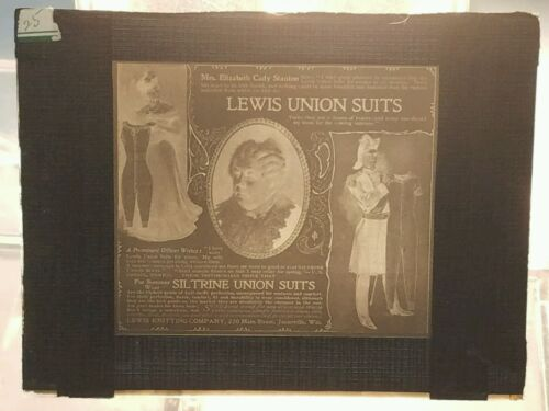 Vtg GLASS NEGATIVE SLIDE Lewis Knitting Company Advertising Lewis Union Suits
