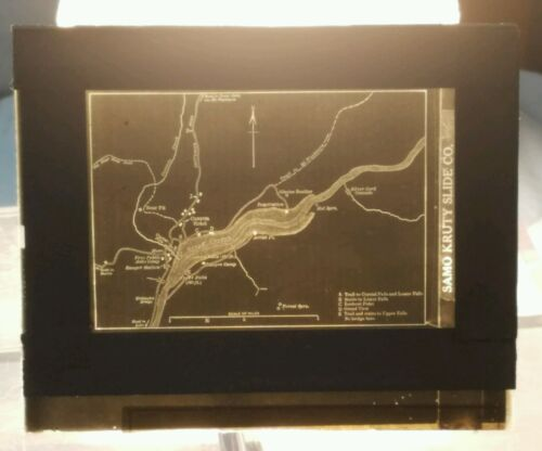 Vintage GLASS NEGATIVE SLIDE Old Map of the Grand Canyon