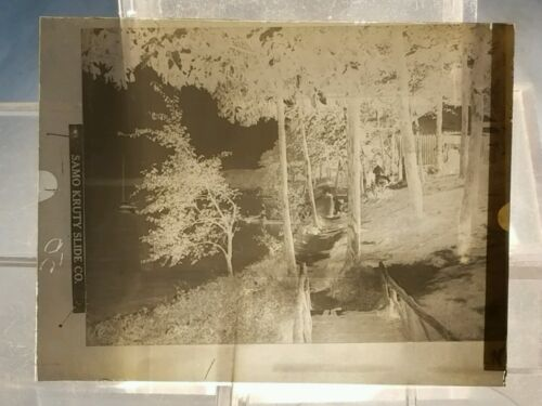 Vintage GLASS NEGATIVE SLIDE Walkway By Lake or River with Docks & Boater