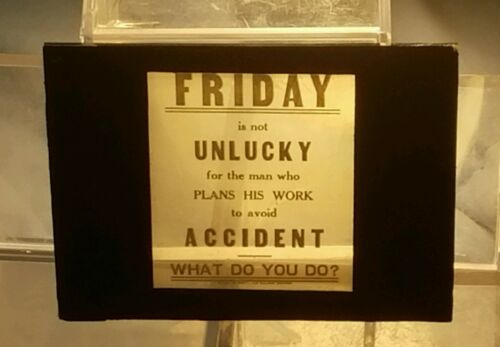 """Vtg GLASS NEGATIVE SLIDE The Pullman Company Railroad """"Friday is not Unlucky"""""""