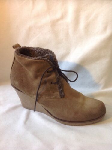 Belle&mimi Brown Ankle Suede Boots Size 38