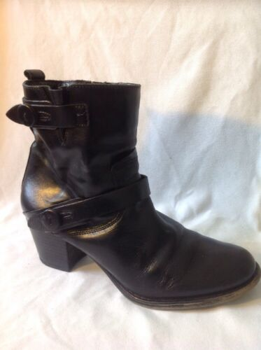 Cara London Black Ankle Leather Boots Size 39