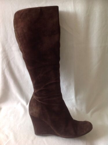 Kew Brown Knee High Suede Boots Size 39