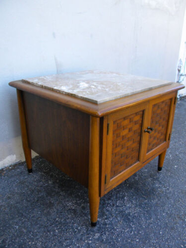 Mid Century Marble Top Low Nightstand Side End Table 0091