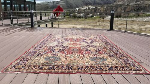Breathtaking Late 1935's Antique Natural Dye Wool Pile Armenian Area Rug 7x10ft