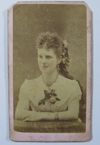 Antique CDV Photograph Color Tinted Portrait of a Woman Wearing Jewelry