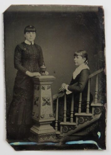 Tintype Photograph Portrait Two Victorian Women One Seated on Staircase Prop