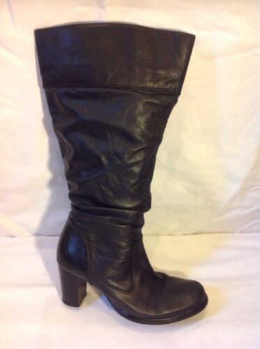 Flexisole Black Knee High Leather Boots Size 5