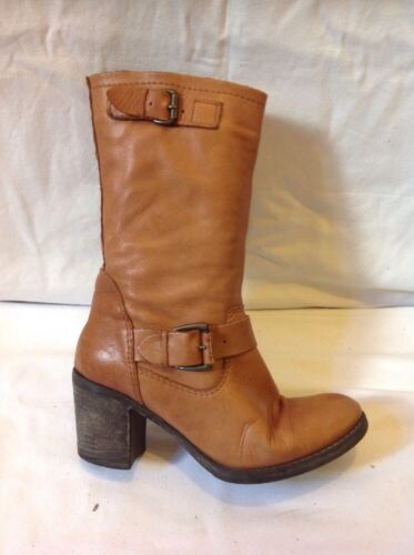 Oasis Brown Mid Calf Leather Boots Size 39