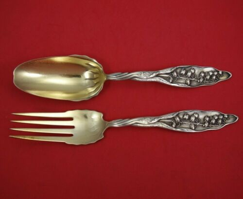 """Lily of the Valley by Whiting Sterling Silver Salad Serving Set 2pc GW Orig 9"""""""