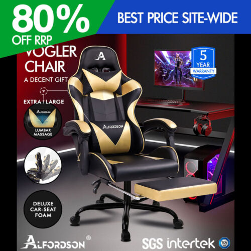 ALFORDSON Gaming Chair Office Executive Racing Footrest Seat PU Leather Gold <br/> Smart, Cool & Amazing! Adult Size, Best Gift for Kids