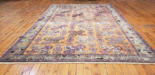 Beautiful Antique Cr1900-1939's Wool Pile Muted Saffron Dye Oushak Rug 4x6ft