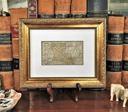 Framed Original 1887 Antique Map LOUISIANA New Orleans Baton Rouge Lake Charles