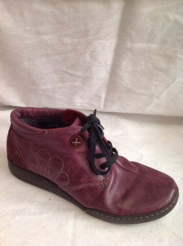 Ladies Maroon Ankle Leather Boots Size 37