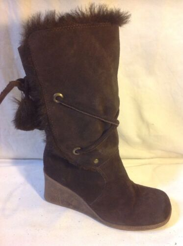 Essence Brown Mid Calf Suede Boots Size 5