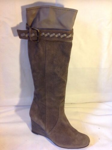 Next Brown Knee High Suede Boots Size 4