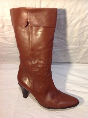 Bianca Maroon Mid Calf Leather Boots Size 39