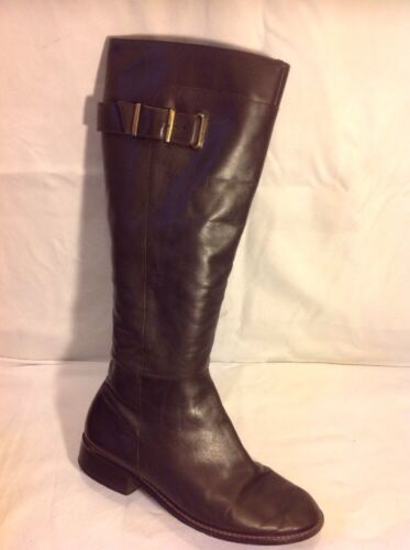 Bianca Brown Knee High Leather Boots Size 39