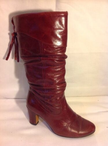 Ladies Maroon Mid Calf Leather Boots Size 37