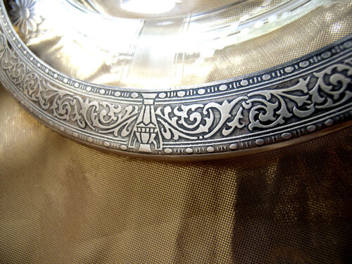 """1899s Pure Sterling Silver Embossed Rim & Glass Plate  10 1/4"""" x 1"""""""
