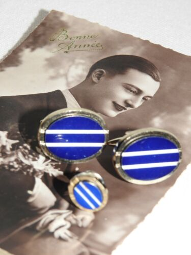 Men's Cufflinks & Stud Set Navy Blue With White Stripe in Silver Tone Metal.