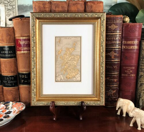 Framed Original 1887 Antique Map SCOTLAND Glasgow Perth Great Scottish History