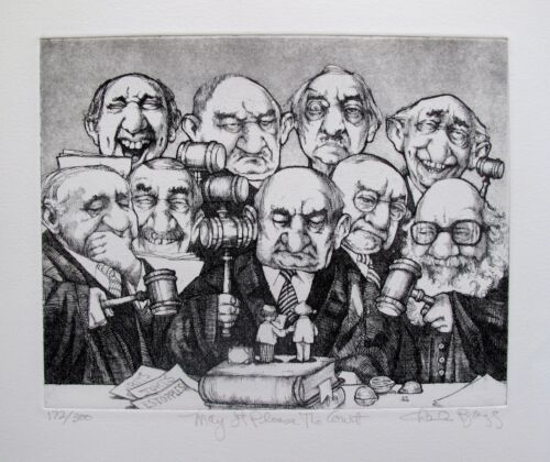 """CHARLES BRAGG """"MAY IT PLEASE THE COURT"""" Hand Signed Limited Edition Etching RARE"""