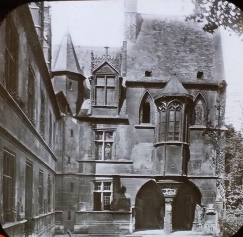 Courtyard of Musee de Cluny PARIS France Old Magic Lantern Glass Photo Slide