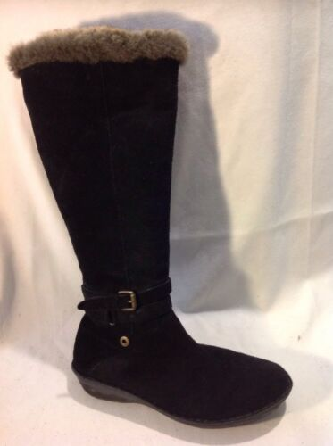 Ladies Black Knee High Suede Boots Size 38