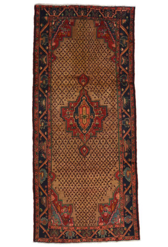 Vintage Tribal Oriental Koliai Rug, 5'x11', Brown/Blue, Hand-Knotted Wool Pile
