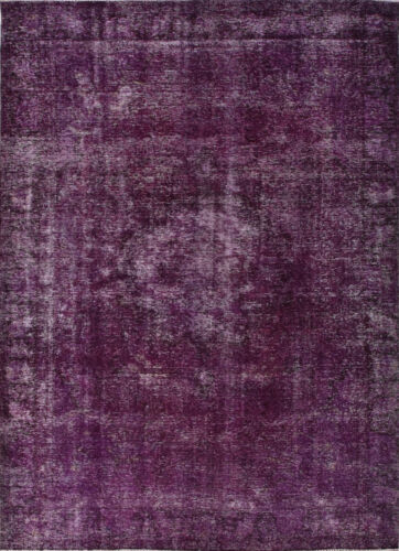 Vintage Turkish Overdyed Rug, 8' x 11', Purple, All wool pile