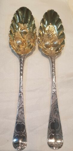Large Heavy Antique Pair Of Georgian Gilded Silver Berry Spoons -1815 Period