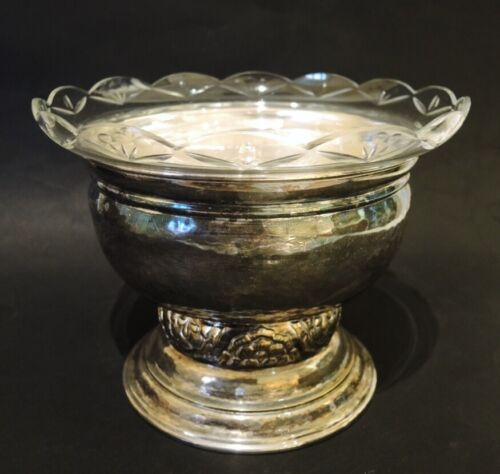 Vintage Danish Gero Hammered Silver Plate Cut Glass Lined Centre Piece