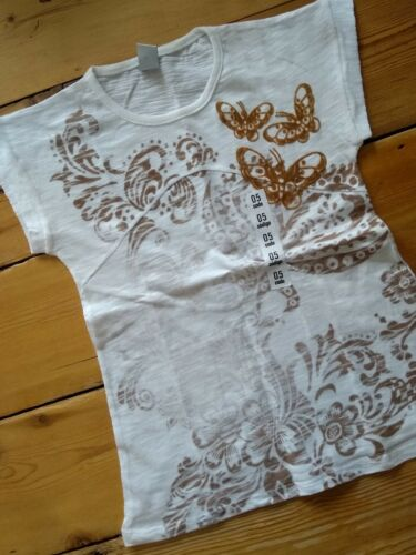 Girls Zara T Shirt Top Faded Gold White Butterfly 100% cotton New